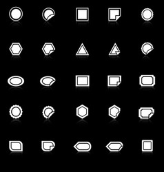 Label icons with reflect on black background vector image vector image