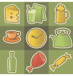 Multicolored food icons vector image vector image