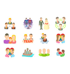 people group icon set cartoon style vector image