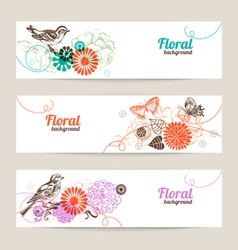 Banners with hand drawn floral background vector image vector image