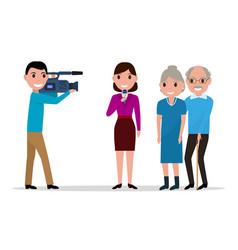 cartoon journalist interviewing elderly vector image vector image
