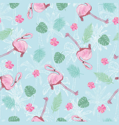 flamingo seamless pattern on mint green vector image vector image