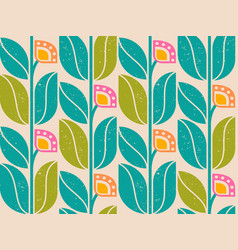 geometric pattern with vintage abstract flowers vector image vector image