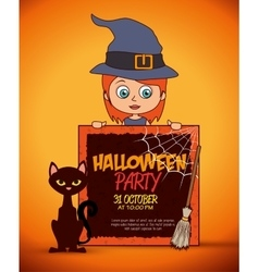 kid poster halloween party costume design isolated vector image vector image