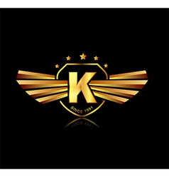 Letter K winged crests logo Alphabet logotype vector image vector image