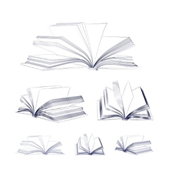 Open book sketch set vector image