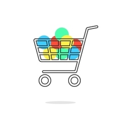 outline shopping cart with colored circles and vector image
