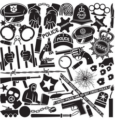 police icons pattern or background vector image vector image