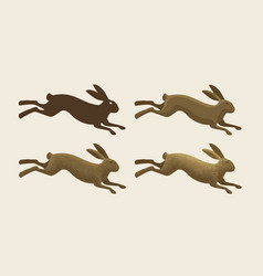 running hare set of icons rabbit bunny symbol vector image vector image