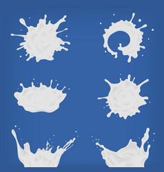 set of different realistic milk splash and pouring vector image vector image