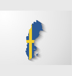 Sweden map with shadow effect vector image vector image