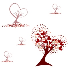 Tree with red hearts seamless pattern vector image
