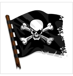 Black pirate flag with skull and bones vector