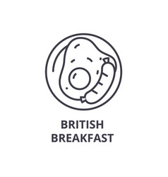 british breakfast line icon outline sign linear vector image