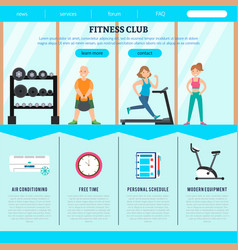 flat fitness club web page template vector image vector image