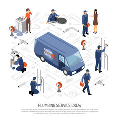 plumber isometric concept vector image vector image