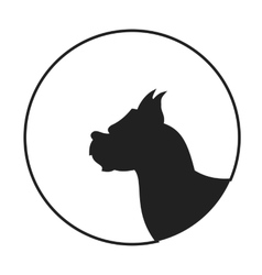 Silhouette of a dog head boxer vector image