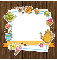 Tea coffee and sweets vector image vector image