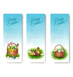 Three Happy Easter banners with Easter eggs in a vector image