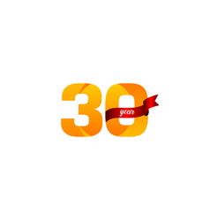 30 years anniversary celebration yellow with red vector