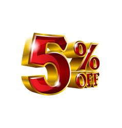 5 off - five percent off discount gold and red vector