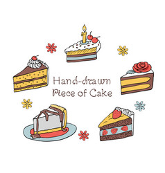 54 set of hand-drawn piece of cake vector image vector image