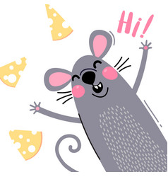 a welcome card with a cute and funny rat the vector image