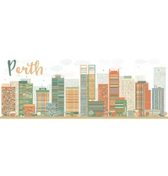 Abstract Perth skyline with Color buildings vector