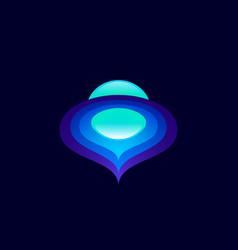 abstract space logo color planet sphere orbits vector image