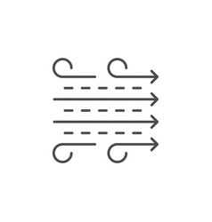 Air flow line outline icon vector