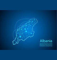 Albania map with nodes linked by lines concept of vector