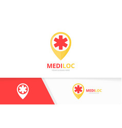 Ambulance and map pointer logo combination vector