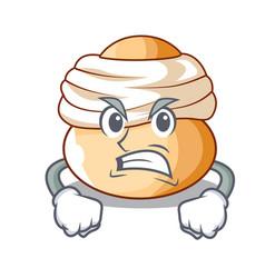 Angry semla swedish cream bun on cartoon vector