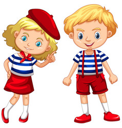 boy and girl in blue striped shirts vector image
