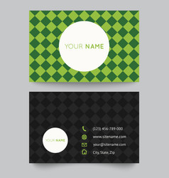 Business card template green pattern design vector