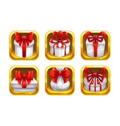 cartoon gift boxes with red bows in the golden vector image