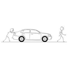 Cartoon of man pushing his broken car other man vector