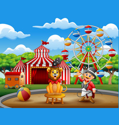 cartoon ringmaster and a lion in the circus a vector image
