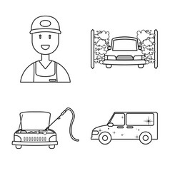 Carwash and care logo set vector