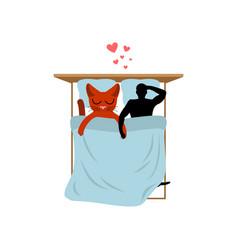 cat lover in bed my kitty lovers in bedroom pet vector image