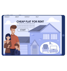 Cheap rent flat for low-wage family landing page vector