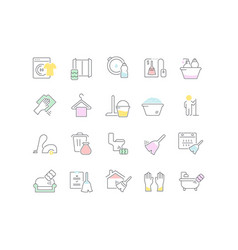 Collection linear icons cleaning service vector