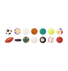 collection round and oval balls for different vector image