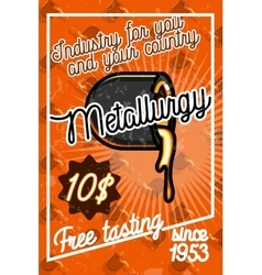 Color vintage Metallurgy poster vector image