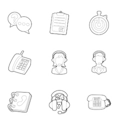 Consultation icons set outline style vector image