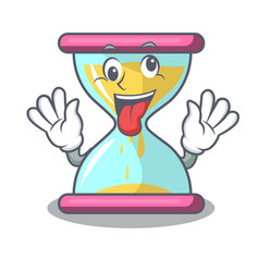 Crazy vintage hourglass isolated on the mascot vector