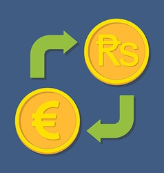 Currency exchange Euro and Rupee vector image