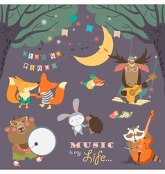 Cute animals musicians and dancers vector