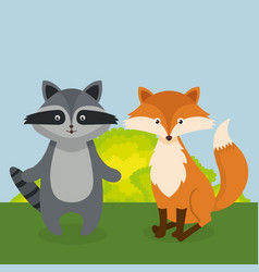 Cute fox and raccoon in the field landscape vector
