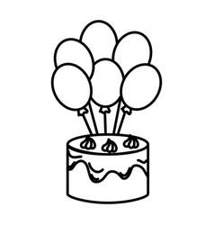Delicious and sweet cake with balloons air vector